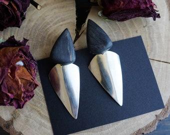 Statement black earrings , wooden earrings , large earrings , rock earrings , minimalist earrings , tribal , ethnic earrings , bohemian