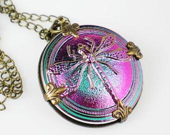 Dragonfly Necklace Metallic Pink & Teal Czech Glass Button Oxidzed Brass Vintage Inspired Jewelry
