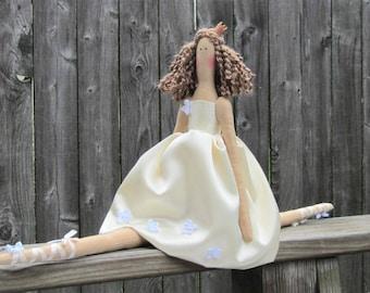Princess doll Fabric doll white ivory ballerina doll princess cloth doll cute stuffed doll brunette doll softie plush doll gift for girls