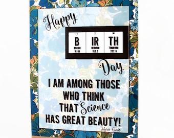Happy B Ir Th Day card - Science, chemistry,