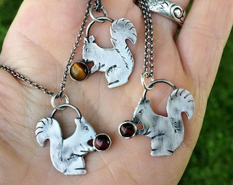 Squirrel Necklace, Sterling Silver Squirrel Charm, Red or Yellow, Animal Lovers, Spirit animal, Talisman Charm Jewelry