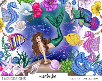 Mermaid Fashion Girl Clip Art Watercolor Clipart PNG Ocean Fish Seahorse Sea Shells Underwater Flowers Hand Drawn Planner Sticker Graphics