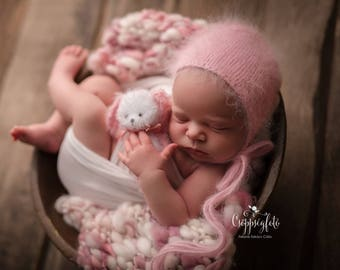 RTS Pale Pink-Ivory Handspun Blanket Newborn Photography Prop