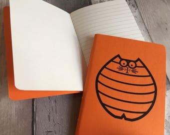 Orange Notebook - Small ruled journal - colourful cat A6 pocket book - hand-printed, hand-stitched