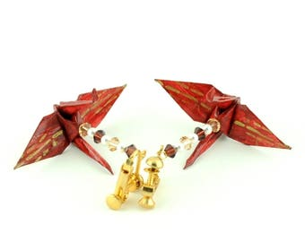 Bamboo on Burgundy Origami Crane Earrings  small clip on Jewelry