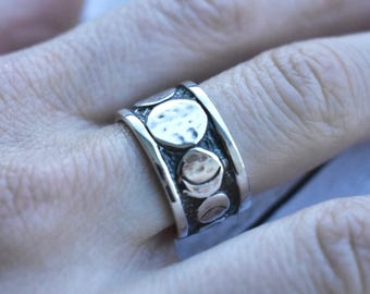 Oxidized Moon Phase Band // Sterling Silver Ring // Celestial Jewelry // Sterling Silver // Village Silversmith