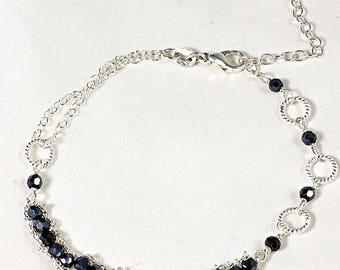 Woven Chain Spinel Bracelet, Mystic Spinel Sterling Silver Bracelet, Dainty Bracelet, Black Gemstone, Layering Bracelet, Minimalist Jewelry