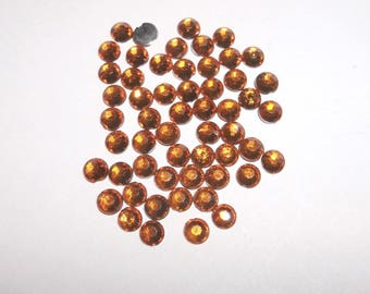 100 half rhinestone paste color amber 4mm