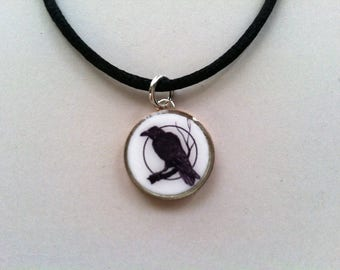 Raven Moon Dime Pendant Charm Stainless Steel Chain or satin Cord Necklace Black Bird Crow