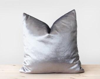 Silver Velvet Pillow Cover Solid Silver Cushion Shiny Silver Velvet Throw Pillow Metallic Velvet Pillowcases  16x16 18x18 20x20 22x22 24x24