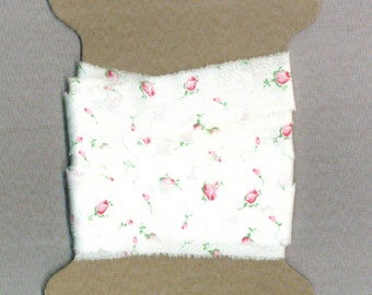 4 yards ribbon hand torn vintage white fabric pink rose buds shabby trim chic seam binding Muslin 1276-44 . ....oohlala