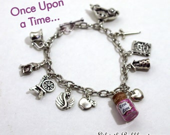 Once Upon a Time Charm Bracelet 11 Charms including a Vial of True Love, Once Upon a Time Disney Bound, Once Cosplay, Once Jewelry