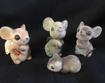 Vintage Mice, flocked mouse, Hong Kong, set 4 mice, Mid Century, MCM Decor, Cute mice, Fuzzy mice, Felted mice, mouse decor, cute critters