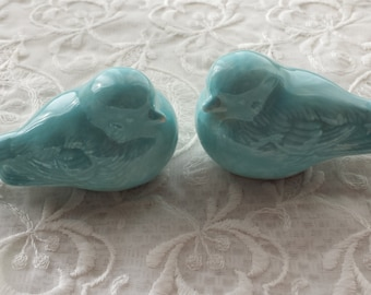 Wedding Cake Bird Toppers Vintage Birds Ceramic Robins Egg Blue