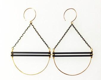 Black and Gold Swing Earrings