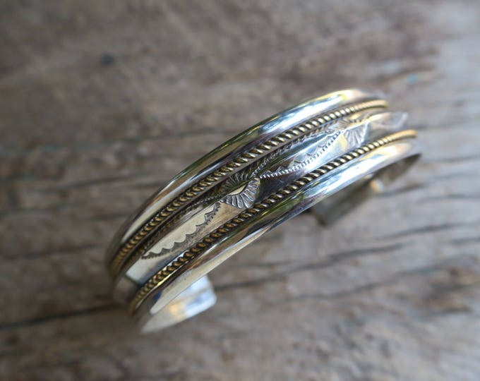 Vintage Stamped Sterling Cuff With Gold Fill