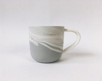 MUG Grey Marbled Mug. Blue ceramic/pottery drinking vessel.