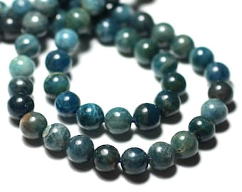 2PC - stone beads - Apatite balls 8 mm blue green Peacock duck - 8741140022164
