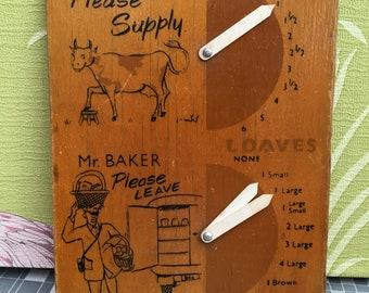 Quirky vintage Mr baker/Mr milkman delivery notice board