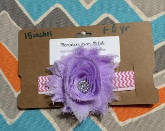 Child Sized Purple Shabby Flower Headband w/ Jewel Center (15 inches)