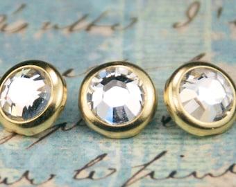 10 Crystal Hair Snaps - Round Gold Rim Edition -- Made with Swarovski Crystal Element Rhinestones