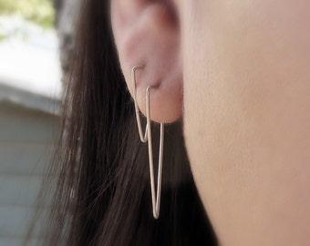 Simple Triangle Earrings - Geometric Triangle Hoop Earrings - Minimalist Line Earrings in Matte Sterling Silver or 14k Gold - Spike Earrings