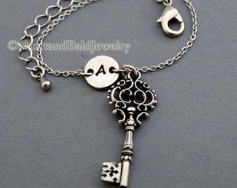 Antique key charm bracelet, antique silver, initial bracelet, friendship, mothers, adjustable, monogram