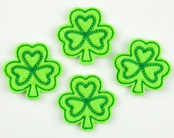 SHAMROCK - Embroidered Felt Embellishments / Appliques - Lime & Green  (Qnty of 4) SCF1090
