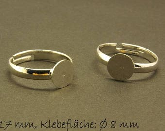 Ring blank, adjustable, silver, 17 mm, surface 8 mm