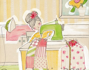 girl sewing, sewing machine, The Makers artwork,  Blend fabrics, watercolor, corid, limited edition - 8 x 10 print by cori dantini