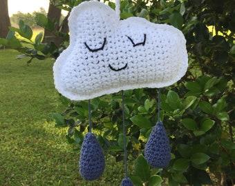 Cloud Mobile, Sleepy Cloud, Crochet Crib Mobile, Crib Mobile, Crochet Cloud, Crochet Mobile, Toy, Mobile, Storm Cloud