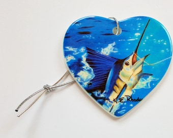Sailfish Hooked up Holiday Christmas ornament heart shaped porcelain ready to hang