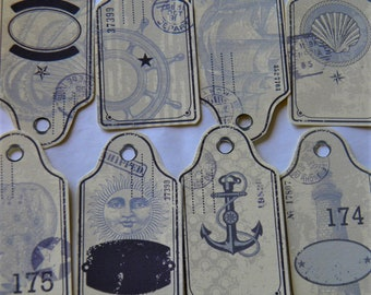 Vintage Nautical Hang Tags -Set of 8