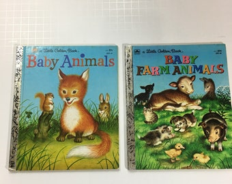 Vintage 2 Little Golden Books Baby Animals and Baby Farm Animals