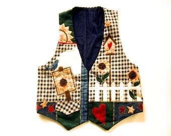 Charme Style chalet Womens Vest Appliqued tournesols volière jardin Design fleur vêtements Vintage gilet cadeaux pour elle