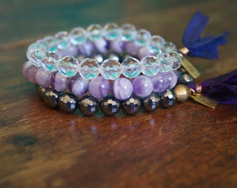 Gemstone Beaded Mala Bracelet Prayer Bead Stack Hematite, Crystal Quartz, and Chevron Amethyst with Silk Tassels Bhakti Yoga Jewelry