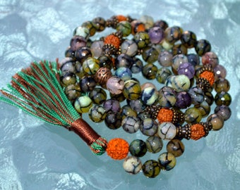 Dragon Vein Agate, Rudraksh, Rudraksha, Handmade, 108 Prayer Beads, Mala Necklace - Chakra, Healing, Stress Relief, Spiritual Power, Courage
