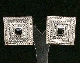Sterling Silver Marcasite Square Earrings Art Deco Style Black Glass Screw Back Style, Mid Century Jewelry, Classic Style 518