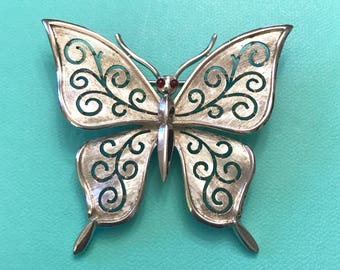 Vintage Crown Trifari Silver Tone Butterfly with Red Glass Eyes Brooch