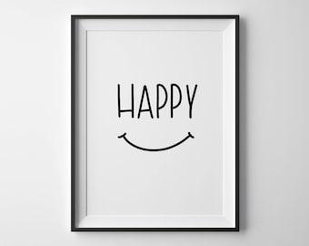 Happy | Hand-lettered typographic print