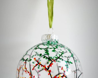 The Four Seasons Glass Ornament - Large Hand Painted Christmas Ornament, Glass Bulb, holiday decorations, Christmas Tree Ornament