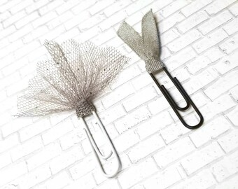 Wedding Planner Clips - Tattered Bow - Gray Glitter Bow Clips - Bride and Groom - Grey Glam Accessories - Decorative Paper Clips - Bujo