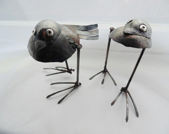 Metal Turtle doves - made out of  reclaimed materials.