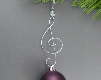 Treble Clef Christmas Tree Ornament Hangers - Wire Christmas Ornament Hooks - Handmade Christmas Decoration Hanger