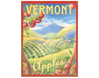 Vermont Apples Travel Poster