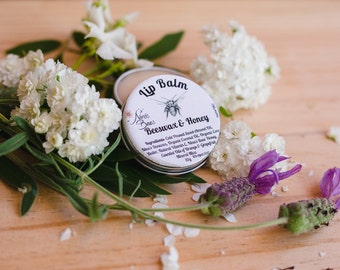 Natural Lip Balm with Beeswax & Honey, handmade with all natural botanical ingredients
