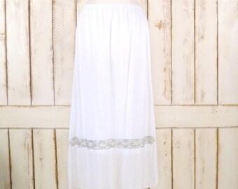 Vintage white silver beaded maxi skirt/long white sheer skirt