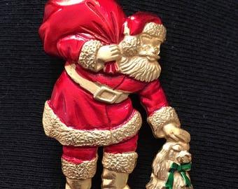 JJ Santa & Dog Brooch / Pin