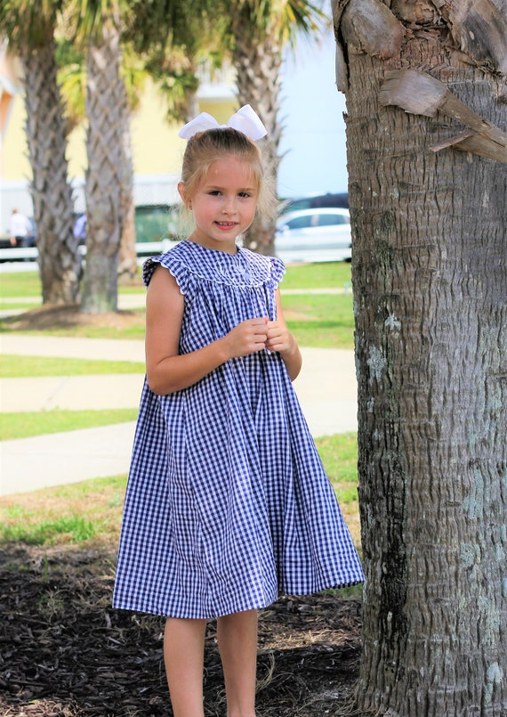 Navy Gingham Monogrammed Dress,  Perfect for Family Beach Photos