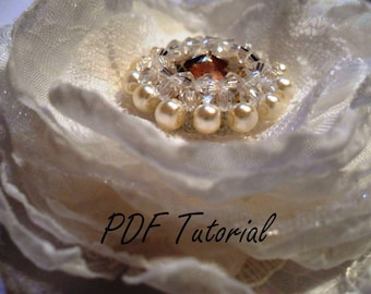 Crystal pearl brooch component Beading tutorial Fabric flower bouquet component Hair pin applique Wedding decoration pattern